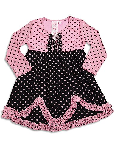Me Me Me by Lipstik - Little Girls Long Sleeve Polka Dot Dress, Pink, Black, 100% Polyester 29733-3T - Lipstik Girls Clothes