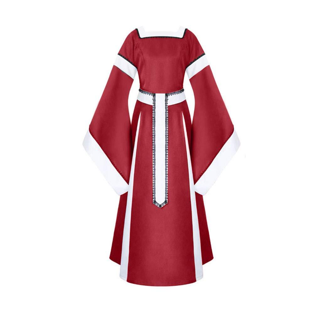 Sunyastor Womens Medieval Dress Renaissance Costumes Irish Over Long Dress Cosplay Retro Gown Gothic Costume Red