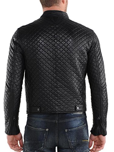 Outwear Moto Slim In Black Giacche Uomo Da Auk066 Biker Cappotto Giacca Pelle Fit w1qzXAX