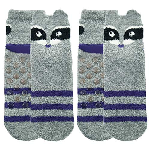(Fuzzy Soft Socks,Womens Girls Slipper Socks Cartoon Funny Animal Themed Raccoon Socks Anti Slip Crew Dress Casual Socks Vive Bears 2 Pairs)