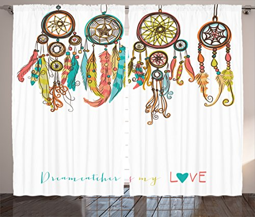 Ambesonne Native American Decor Curtains 2 Panel Set by, Set of Colorful Ethnic Dreamcatchers Native American Tribal Elements in Mod Graphic, Living Room Bedroom Decor, 108 W X 84 L Inches Multi