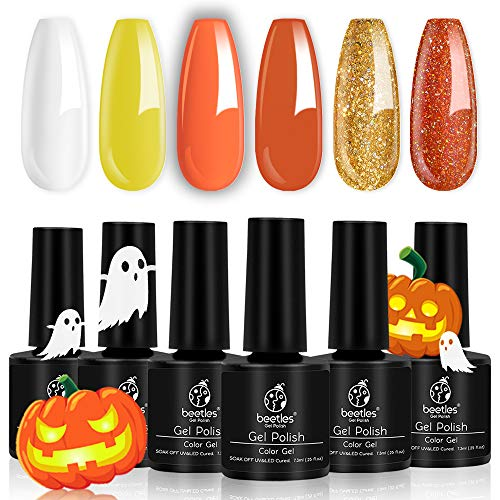 Beetles Halloween Color Gel Nail Polish Set, 6 Pcs White Glitter Gel Polish Yellow Nail Polish Gel Kit Art Design Gift Box, Soak Off UV LED Gel Nail Lamp Cured, 7.3ml Each Bottle (Gel Polish Glitter)