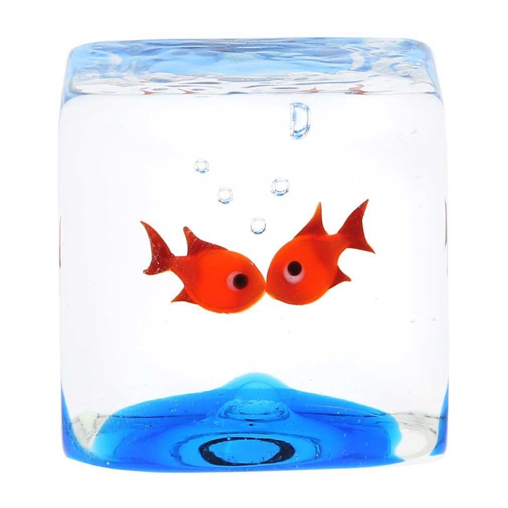 GlassOfVenice Murano Glass Aquarium Cube With Goldfish by GlassOfVenice