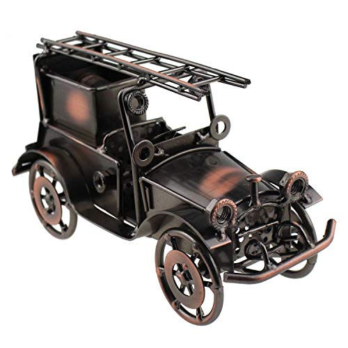 Tipmant Antique Vintage Car Fire Fighting Truck Home Décor Accents Decoration Ornaments Collections Collectible Vehicle Model
