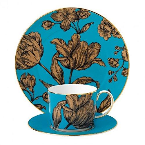 "Vibrance Turquoise Teacup, Saucer & 8"" Salad Plate"