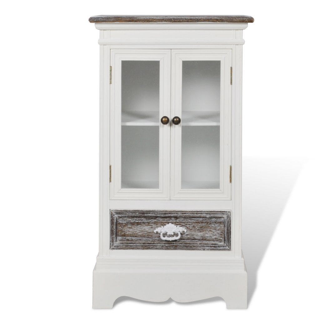 Anself White Cabinet 2 Doors 1 Drawer Wood