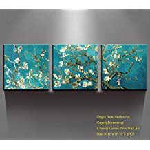"Canvas Wall Art - Almond Blossoms Van Gogh Modern Art Reproduction Canvas Prints Stretched Gallery Wrap Ready to Hang -12""x12"" x 3 pcs for Wall Decor- Nuolan Art-P3L3030-011"