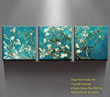 Canvas Wall Art - Almond Blossoms Van Gogh Modern Art Reproduction Canvas Prints Stretched Gallery Wrap Ready to Hang -12'x12' x 3 pcs for Wall Decor- Nuolan Art-P3L3030-011