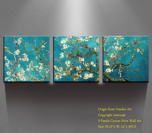 Day Framed Panel Print - Canvas Wall Art - Almond Blossoms Van Gogh Modern Art Reproduction Canvas Prints Stretched Gallery Wrap Ready to Hang -12