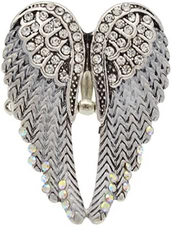 Angel Wing Stretch Ring Elastic Band Ring Colorful Rhinestone Bling Jewelry 1Pc