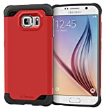 S6 Case, Samsung Galaxy S6 Case, rooCASE [Mil-Spec MIL-STD-810G 810F] Exec Tough PRO Hybrid Drop Protection Heavy Duty Slim Fit Lightweight Armor Cover, Red
