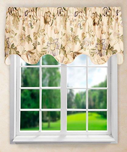 - Ellis Curtain Brissac Lined Scallop Valance, 70 x 17, Linen
