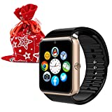 Eccbox GT08 Smart Watch with Christmas Pouch Bluetooth Touch Screen Kids Watch With SIM Card Slot, Hands-free Calls for Iphone Android Smart Phones (Gold)
