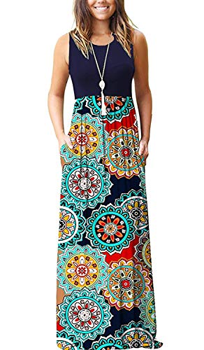 MOLERANI Womens Summer Contrast Sleeveless Tank Top Floral Print Maxi Dress Navy Floral Red S ()