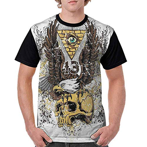 Performance T-Shirt,American Eagle on Skull Fashion Personality Customization