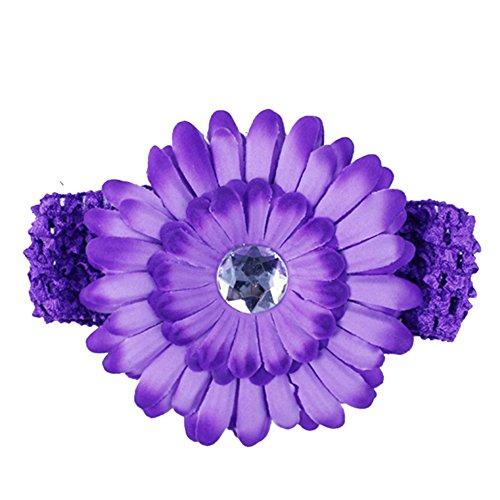 Baby Girls Daisy Headband Hairbands Hairbows Hair Flower Clip Headwear (dark purple)