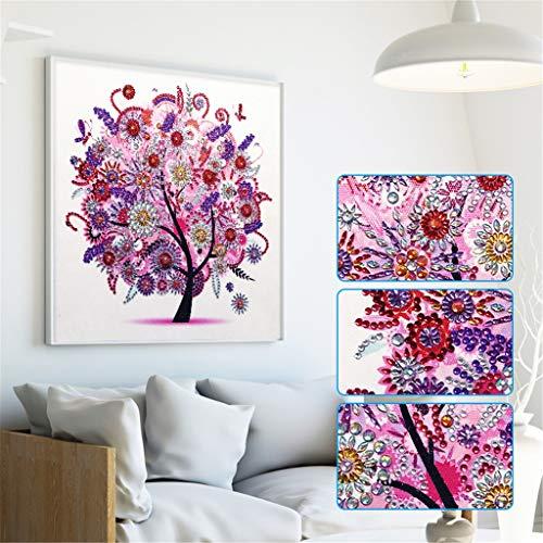 Fall Four Seasons Tree Special Shape Diamond Painting,Baulody DIY 5D Partial Drill Cross Stitch Kit Crystal Rhinestone Series Diamond Embroidery Art Craft (Red)