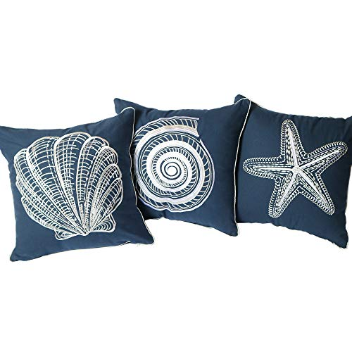 - Hodeco Embroidery Throw Pillow Covers Dark Blue 18x18 Decorative Floor Pillow Cover for Couch 100% Cotton Cushion Cover Throw Pillow Case, Sea Shell Conch Sea Star Embroidered, Navy Blue, Set of 3