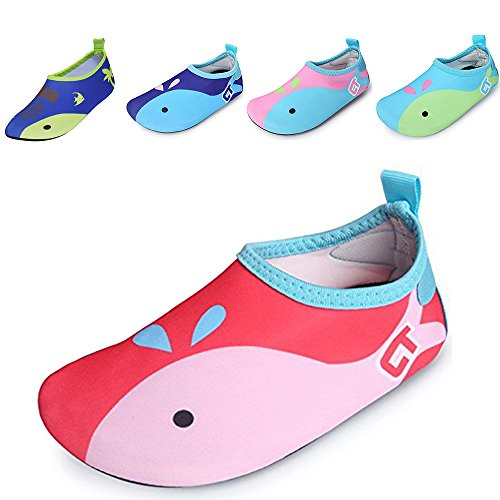 JACKSHIBO Kids Water Shoes Lightweight Skin Swim Shoes Quick Dry Barefoot Aqua Socks Shoes for Beach Surf Yoga Exercise