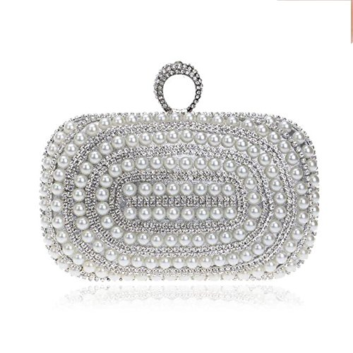 Prom Sparkly Lgsvb Pearl Diamond Sac D'embrayage Bridal Womens Épaule Silver Party FOEqY
