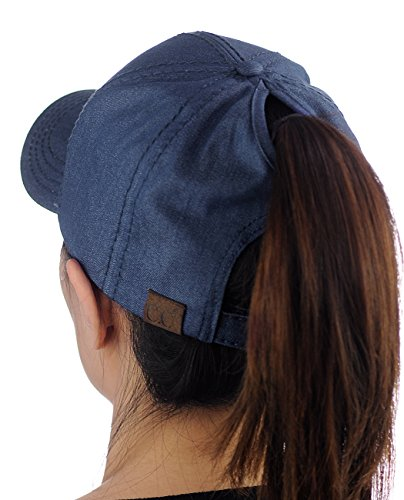 C.C Ponycap Messy High Bun Ponytail Adjustable Cotton Baseball Cap Hat, Denim -