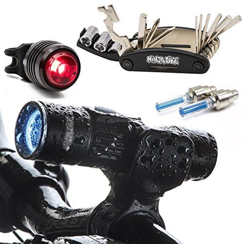 NinjaBike USB Rechargeable Bike Light Set - Waterproof Aluminum Bicycle Headlight & Tail Light With Bike Repair Kit-BONUS 2 Bike Wheel Lights - Ideal For All Road, Mountain & Kids Bikes -  123456789