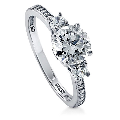 BERRICLE Rhodium Plated Sterling Silver Round Cubic Zirconia CZ 3-Stone Anniversary Promise Engagement Ring 1.59 CTW Size 6.5