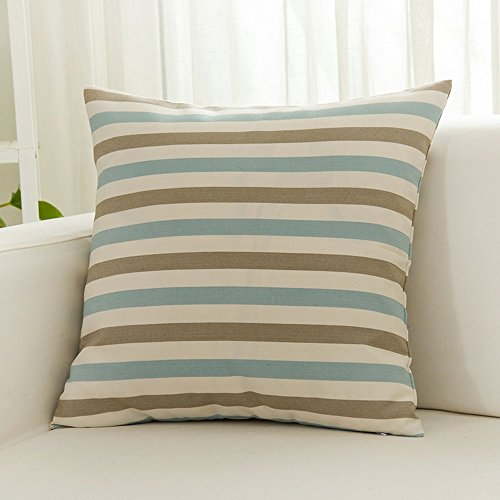 Cotton Canvas Rectangle Throw Pillow Decorative Stripe Oblong Toss Pillow for Sofa/Bench/Couch, Blue/White/Grey Small Stripe, 12