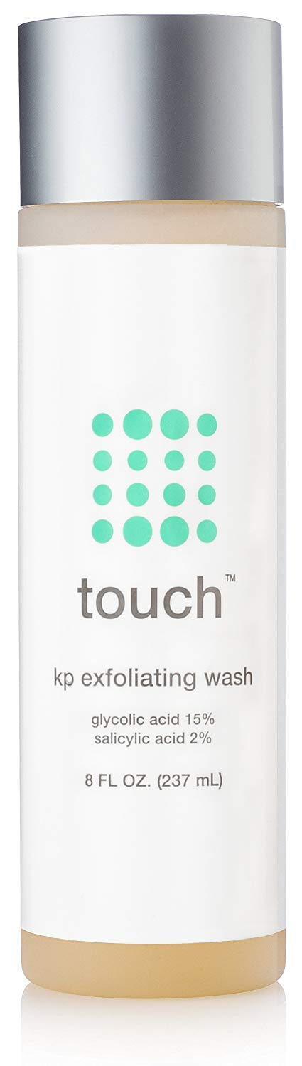 Touch Keratosis Pilaris & Acne Exfoliating Body Wash Cleanser - KP Treatment with 15% Glycolic Acid, 2% Salicylic Acid, Hyaluronic Acid - Smooths Rough & Bumpy Skin - Gets Rid Of Redness, 8 Ounce by TOUCH (Image #1)