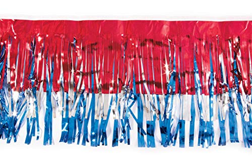Red, Silver and Blue Metallic Fringe, 15 Inches High x 10 Feet Long Roll, Parade Float Decorating Material -