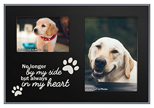 ThisWear Pet Bereavement Frame Always in My Heart Dog or Cat Black Wood 2-Photo Plaque Picture Frame Black
