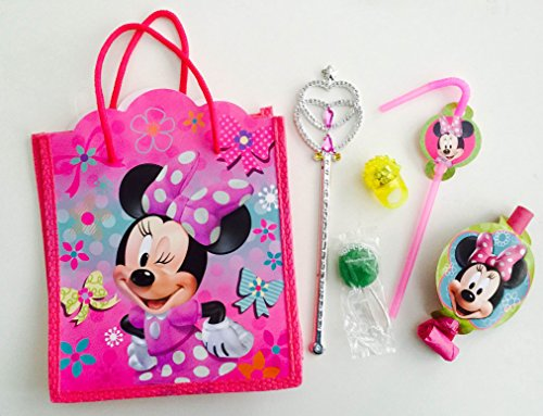 (8x Pack Minnie Goody Bags, Pre Made & Filled with Toys, Goodie, Filled Goody Bag / Loot Bag, Pencil; Eraser; Sharpener; LED ring; Princess Magic)