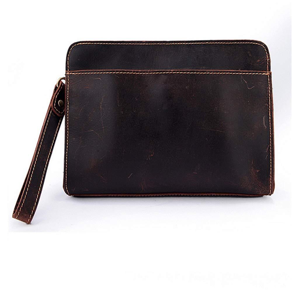 Asdflina Leicht zu tragen Leder Herren Tasche Herren Clutch Crazy Horse Leder Herren Business Zipper Leder Wallet Wallet Geeignet für den täglichen Gebrauch (Farbe   Braun) B07GWXMTDB Geldbrsen