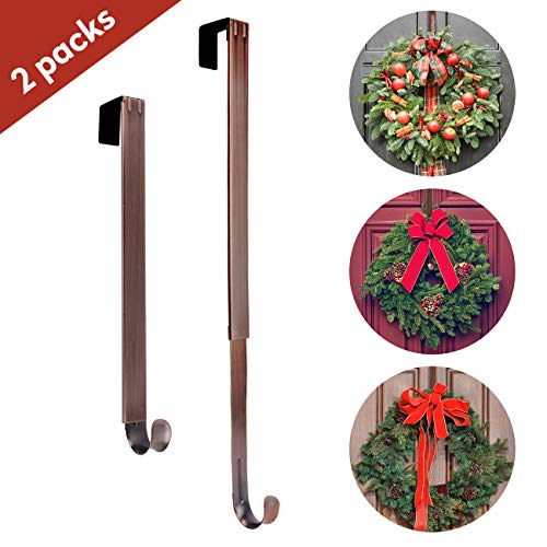 AnCintre Wreath Hanger, 2 Pack Adjustable Length from 15 to 25 Fall Wreath Hanger for Front Door Heavy Duty with 20LB Metal Door Hooks Holder for Christmas Decorations