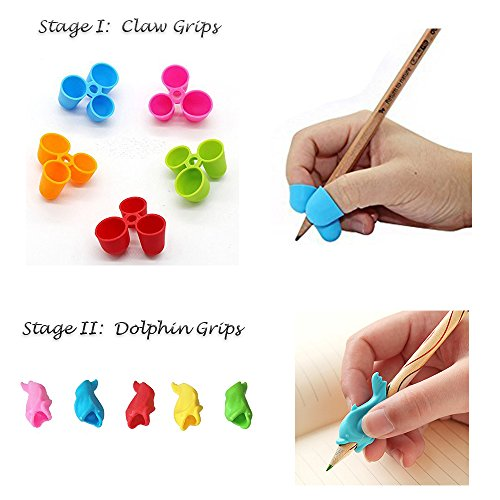 New 10 Count JERN Two Stage Ergonomic Pencil Grip Holders for Right / Left Hand Kids, Adults and People with Special Needs (incl. 5 Pcs. Stage I Claw Grips + 5 Pcs. Stage II Dolphin Grips)