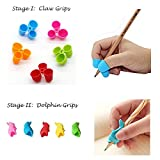 #7: JERN Ergonomic Pencil Grip Holders for Right / Left Hand Kids, Adults and People with Special Needs (Two Stage Pencil Grips - 5 Claw & 5 Dolphin Grips)