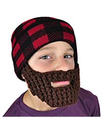 Beanie with Beard Winter Hat - Lumberjack - Neon Eaters - Boys, Cute Knit Toque