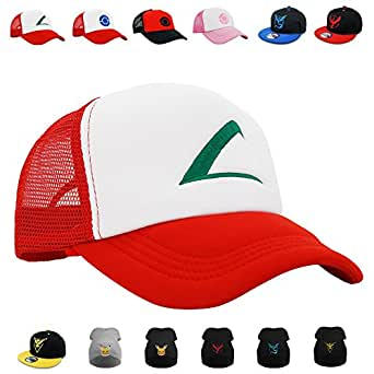 "Pokemon Cosplay Hat, Beanie, PopCrew  [Embroidered Team Trainer Hat] (Ash) One Size: 55-60cm/21.65""-23.62"" inches"