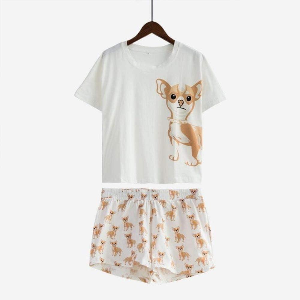WJFGGXHK Pijama De Verano Mujer,Pijama Mujer Establece Chihuahua Top Corto Cortos 2 Pcs Cintura Elástica Suelto Dormir La Noche Ropa Inicio Ropa,L