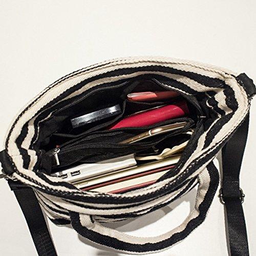 Damen Canvas Tasche Streifen Schultertasche Kuriertasche Alltagstasche Groß Shopper Umhängetaschen Handtasche Messenger Bag