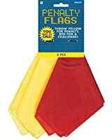 """Football Frenzy Birthday Party Penalty Flags Game, fabric, 9 1/4"""" x 5 1/2"""", Pack of 2"""
