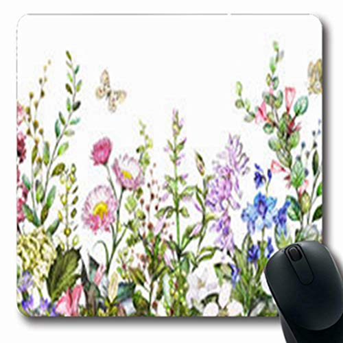 Meadow Rim - ArtsDecor Mousepads Gentle Rim Border Herbs Wild Victorian Flowers Botanic Nature Floral Botanical On Oblong Shape 7.9 x 9.5 Inches Oblong Gaming Mouse Pad Non-Slip Mouse Mat