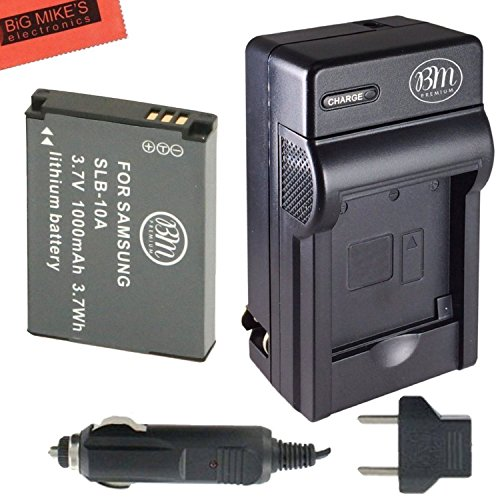 SLB-10A Battery and Battery Charger for Samsung EX2F HZ15W S