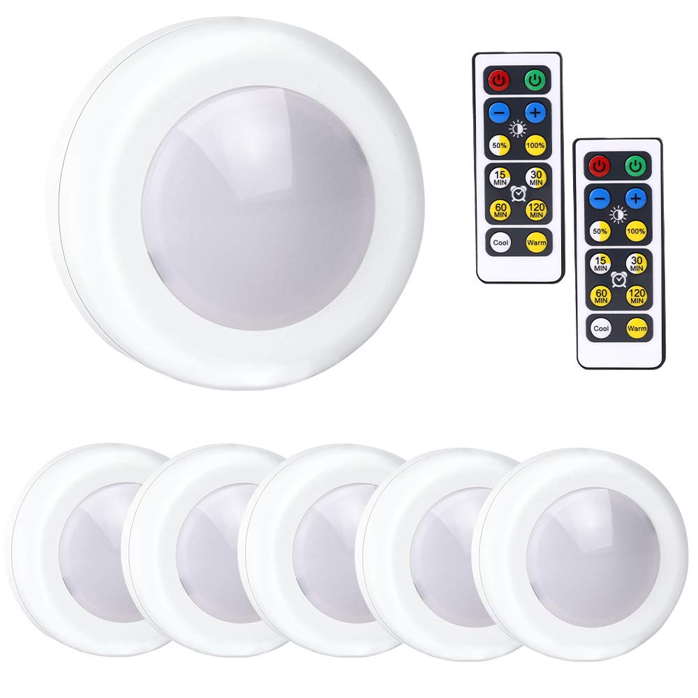 Lakes Battery Powered Lights, Wireless LED Puck Light with Remote Control, Dimmable Kitchen Under Cabinet Lighting, Closet Light, 6-Pack