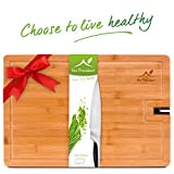 Large Cutting Board - Natural Organic BAMBOO Wood Chopping Board for Meat - Vegetables and Cheese with Non Slip Feet and Knife Sharpener for Kitchen - (18 X 12 Inch) by Eco President