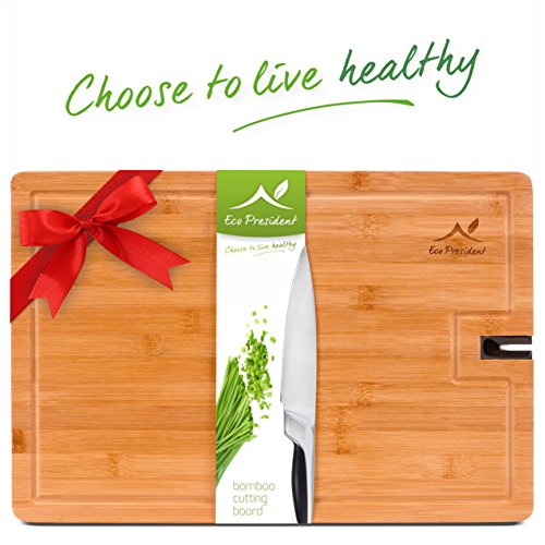 Bamboo Cutting Board - LARGE Natural Organic Wood Chopping Board for Meat - Vegetables and Cheese with Non Slip Feet and Knife Sharpener for Kitchen - (18 X 12 Inch) by Eco President