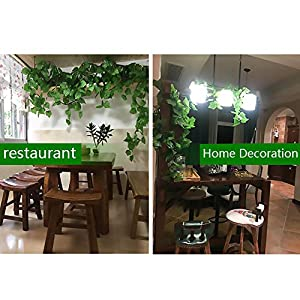 FightingFly Greenery Garland, 12 Strands 84ft Artificial Greenery Vines Fake Ivy Leaves Garland Hanging for Home Kitchen Garden Office Wedding Wall Decor, Grape Leaves 5
