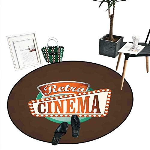 Movie Theater Round Rugs for Bedroom Retro Style Cinema Sign Design Film Festival Hollywood Theme Living Dinning Room and Bedroom Rugs (3' Diameter) Brown Turquoise Vermilion -