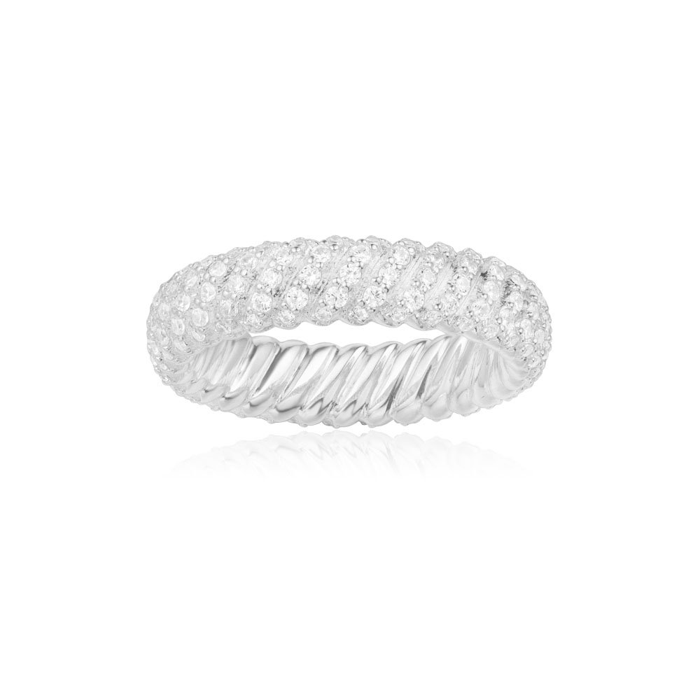 Sterling Silver 5mm Stacking Ring Full Eternity Band Rhodium Plated Size 6