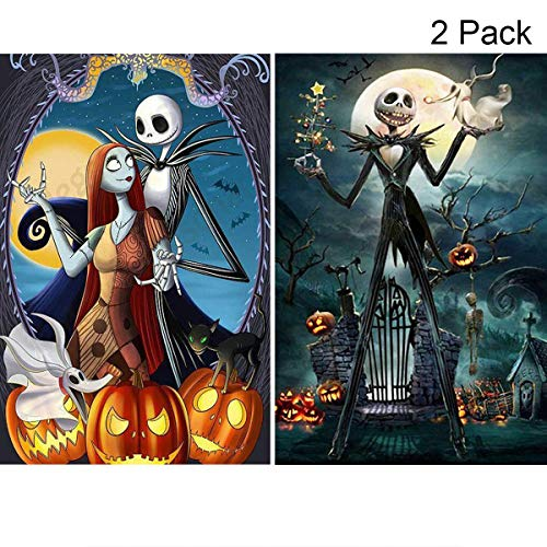 2 Pack 5D Full Drill Diamond Painting Kit, KISSBUTY DIY Diamond Rhinestone Painting Kits for Adults and Beginner Embroidery Arts Craft Home Decor, 15.8 X 11.8 Inch (Jack Halloween Skull King)